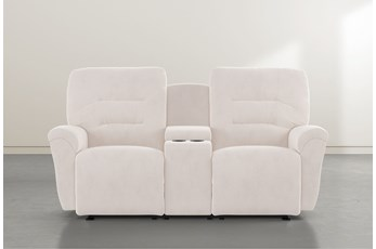"Zara Ivory Power Space Saver Console 77"" Reclining Loveseat"