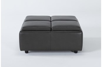 Dorian Leather Cocktail Ottoman With Storage