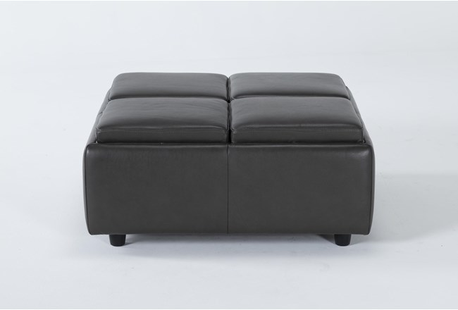 Dorian Leather Cocktail Ottoman With Storage - 360