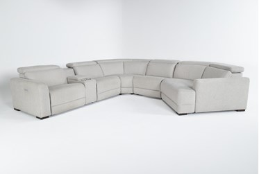 """Chanel Grey 6 Piece 156"""" Sectional With Right Arm Facing Cuddle Chaise"""