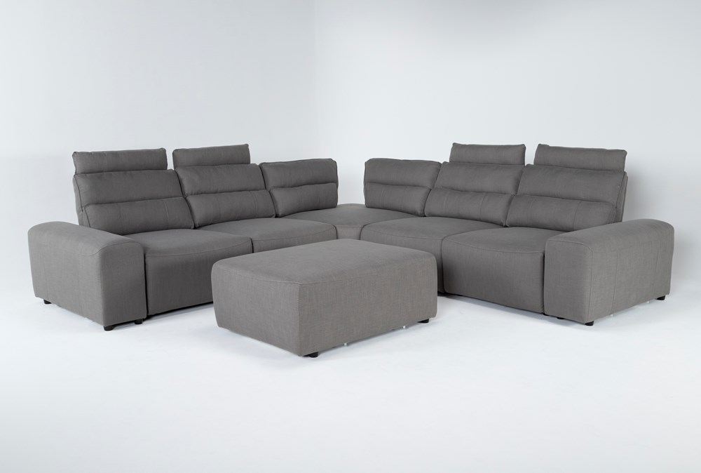 "Sagan 7 Piece 134"" Power Reclining Sectional With 2 Armrests & Ottoman"