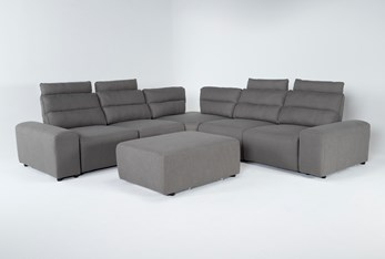 """Sagan 7 Piece 134"""" Power Reclining Sectional With 2 Armrests & Ottoman"""