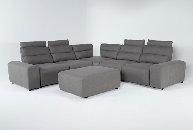 """Sagan 7 Piece 134"""" Power Reclining Sectional With 2 Armrests & Ottoman - 360"""