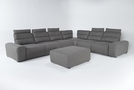 """Sagan 8 Piece 168"""" Power Reclining Sectional With 2 Armrests & Ottoman"""