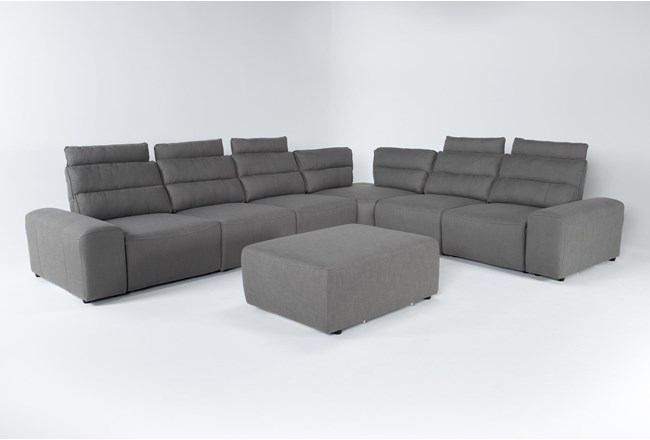 "Sagan 8 Piece 168"" Power Reclining Sectional With 2 Armrests & Ottoman - 360"