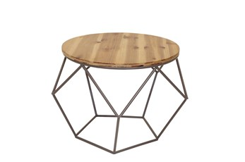 Round Metal + Wood Accent Table