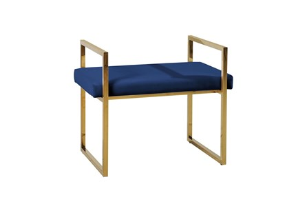 Gold + Navy Velvet Bench - Main