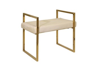 Gold + Beige Velvet Bench