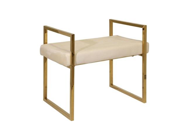 Gold + Beige Velvet Bench  - 360