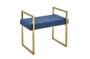 Gold + Blue Velvet Bench