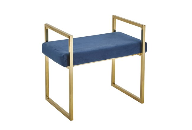 Gold + Blue Velvet Bench  - 360