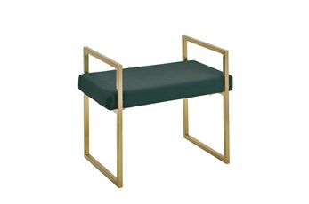 Gold + Green Velvet Bench