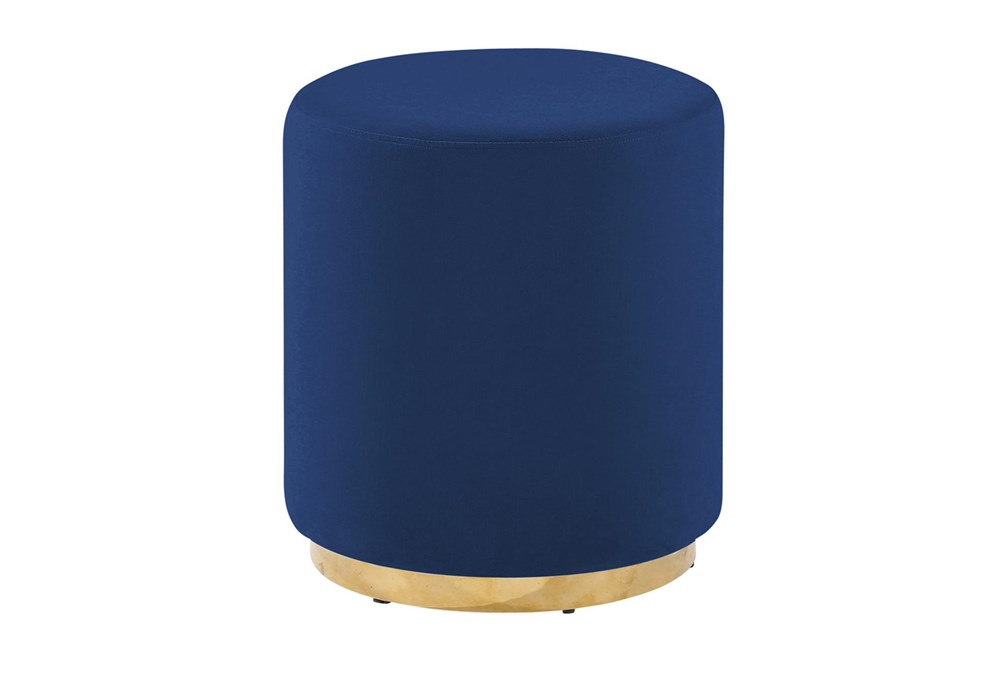 Navy + Gold Round Stool