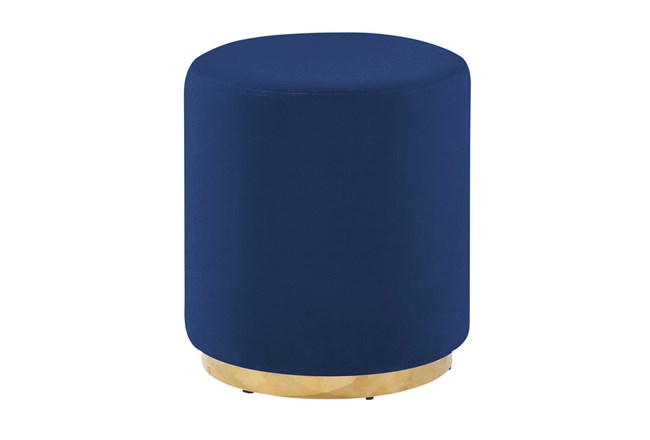 Navy + Gold Round Stool - 360