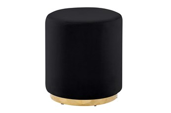 Black + Gold Round Stool