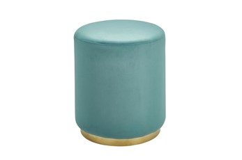Gold + Teal Round Stool