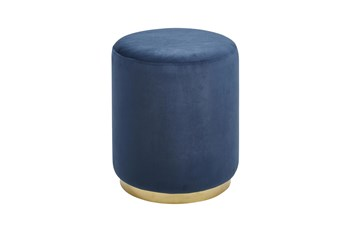 Gold + Blue Round Stool