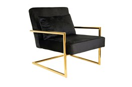 Black Velvet + Gold Accent Chair
