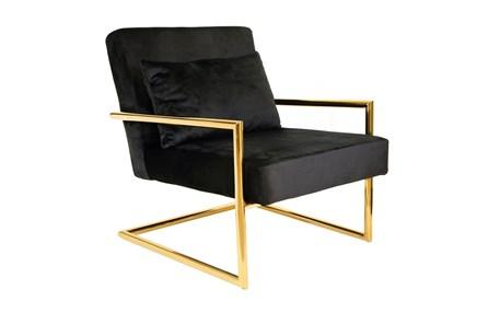 Black Velvet + Gold Accent Chair - Main