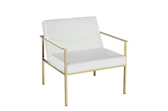 White Velvet + Gold Accent Chair