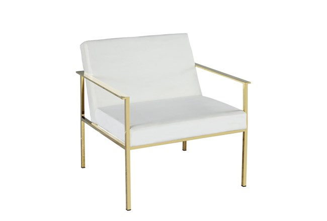 White Velvet + Gold Accent Chair  - 360