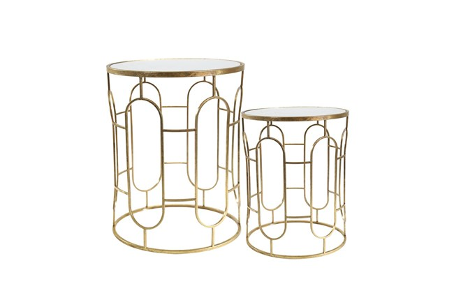 Set Of 2 Mirrored Gold Round Accent Tables  - 360