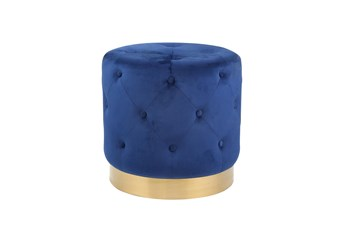 Tufted Navy + Gold Round Stool