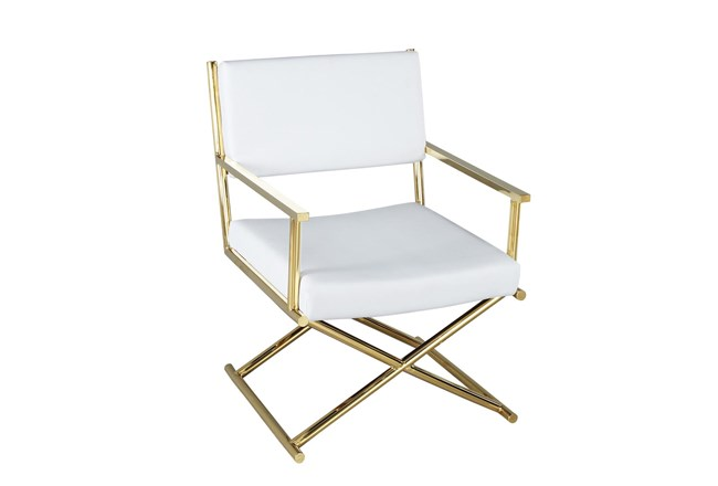 White + Gold Directors Chair  - 360