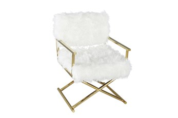 White Faux Fur + Gold Directors Chair