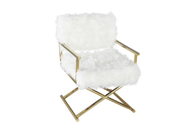 White Faux Fur + Gold Directors Chair  - 360