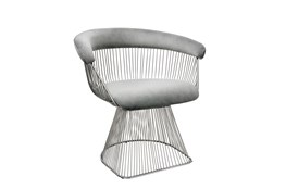 Grey + Silver Metal Accent Chair
