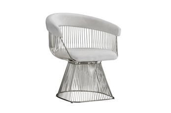 White + Silver Metal Accent Chair