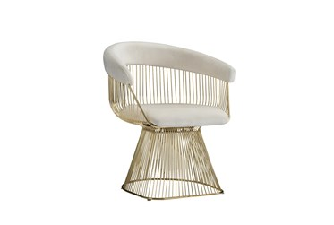 White + Gold Metal Accent Chair