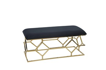 Black + Gold Rectangle Velvet Bench