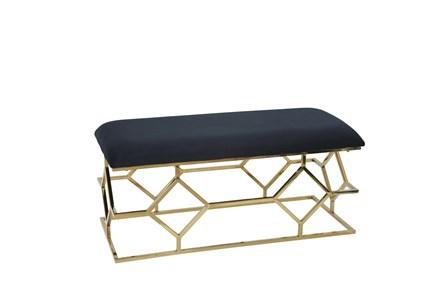 Black + Gold Rectangle Velvet Bench - Main
