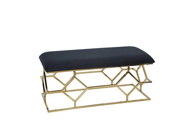 Black + Gold Rectangle Velvet Bench  - 360