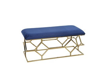 Navy + Gold Rectangle Velvet Bench
