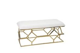 White + Gold Rectangle Velvet Bench