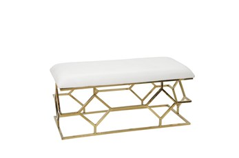 White + Gold Rectangle Velvet Bench