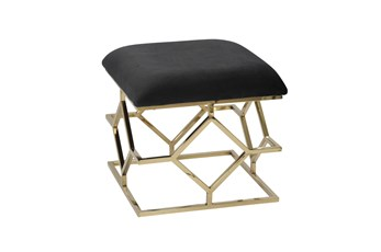 Black + Gold Square Velvet Bench