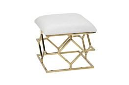 White + Gold Square Velvet Bench