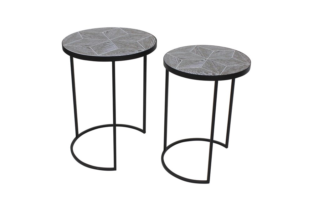 Set Of 2 Black Metal + Wood Accent Tables