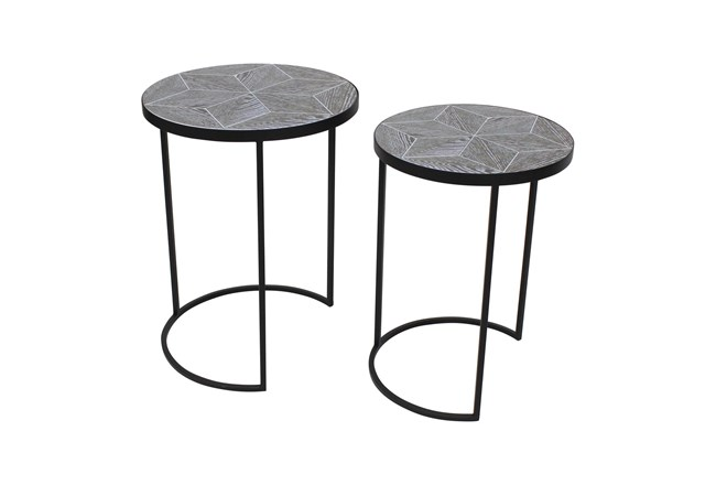 Set Of 2 Black Metal + Wood Accent Tables  - 360
