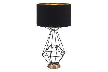 Geometric Table Lamp With Black Shade