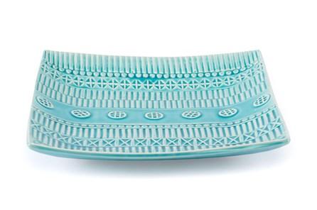 Light Blue Tribal Patterned Plate - Main