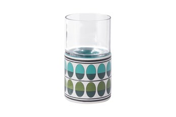 7 Inch Retro Green And Teal Candle Holder