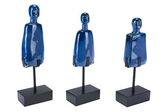 Blue Figurine On Stand Set Of 3