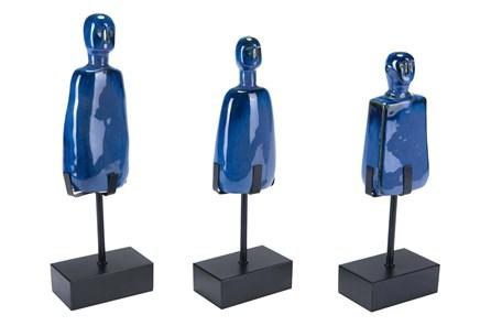 Blue Figurine On Stand Set Of 3 - Main