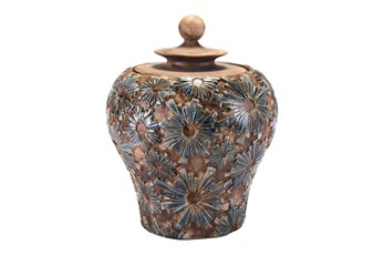 19 Inch Patterned Brown Jar