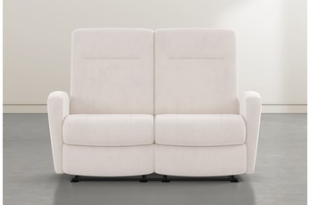 "Zachery II Ivory Power Space Saver Console 77"" Reclining Loveseat"